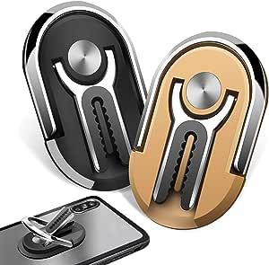Jeezao 2 Stück Handyhalter Fürs Auto Finger Handy Ring Halterung 360 Rotation Multifunktionaler Universeller Handyhalter Verwendet Für Auto Luftaustritt Hause Schwarz Gold Auto