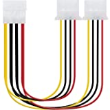 NANOCABLE 10.19.0401 - Cable Alimentación 2xMOLEX Macho a 1xMOLEX Hembra, 4pin/M-2xMOLEX 4pin/H, 20cm, Multicolor