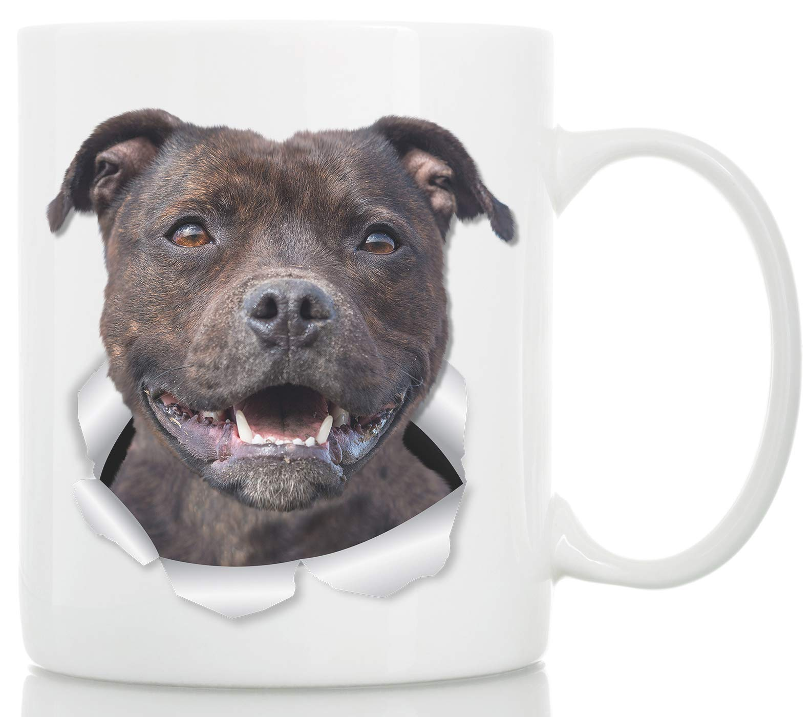 Happy American Staffordshire Terrier Mug – Staffie Ceramic Coffee Mug – Perfect Staffordshire Bull Terrier Gifts – Funny Cute Staffordshire Terrier Dog Coffee Mug for Dog Lovers and Owners (11oz)