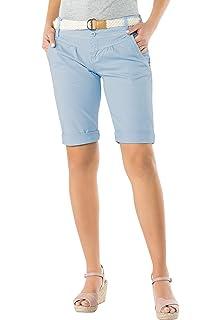 Pantaloncini Basic in Cotone Pantaloni Chino Corti con Cintura Intrecciata Fresh Made Bermuda Estivi da Donna