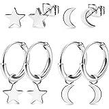 LOLIAS 4 Pares Acero inoxidable Pendientes Aro para Mujeres Niñas Pendientes Pequeños Aretes Estrella Luna Piercing Stud de C