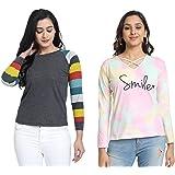 JUNEBERRY Women's Cotton Full Sleeve Regular Fit T-Shirt-Pack of 2