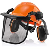 Industriële veiligheidshelm voor bosbouw - gehoor- en gezichtsbescherming, bosbouw professionele helm met viziercombo-set, af