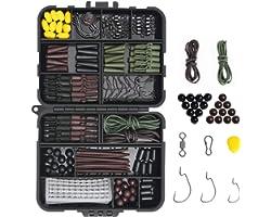 Vicloon Set da Pesca, 272Pcs Kit di Esche da Pesca Carp Fishing Tackle Box con Clip di Sicurezza, Perline da Pesca, Rig Tube,