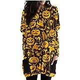 YWLINK Mujer Sudaderas sin Capucha,Mujer Halloween Sudadera con Estampado Camiseta Manga Larga Pullover de Talla Grande Sweat