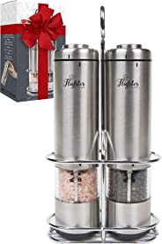 Battery Operated Salt and Pepper Grinder Set - Electric Stainless Steel Salt&Pepper Mills(2) by Flafster Kitchen -Tall Power