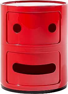 Kartell Componibile Smile Contenitore Faccia Seria, ABS, Rosso, 32 x 32 x 40 cm