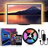 MMcRRx RGB TV LED-remsa, 60 RGB LED ljuskedja med fjärrkontroll för mobilapp och infraröd fjärrkontroll, färgdimmabel, 5050 L