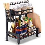 Organisateur de support à épices, étagère de rangement de comptoir de cuisine avec baguettes à couverts et étagère de rangeme