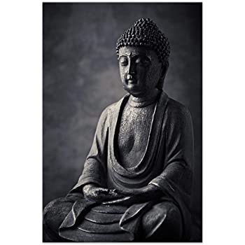 999Store Printed Buddha Statue Canvas Painting (30X18 Inches, Wooden Framed)