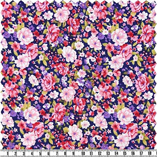 alfa HOME Popeline-Druck, Blumen-Print, lila/rosa, ca. 145 cm breit, Meterware (Blumen-print Popeline Mit)