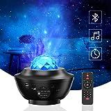 Lampada Proiettore Stelle, VOKSUN Bluetooth Luce Notturna Bambini con Timer e Telecomando, 360° Rotazione 10 Modalità Romanti