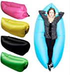 Axxitude Inflatable Nylon Fabric Air Lazy Sofa for Traveling Outdoor Camping Beach (Multicolour)