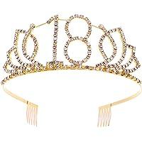 Frcolor–Tiara zum 18. Geburtstag, mit Strass-Krone, für Mädchen zum 18. Geburtstag, mit Strass, goldfarben