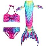 Hifunbay Cola de Sirena niña para Nadar Incluido Traje de Sirena baño de Bikini de 3 Piezas sin monoaleta