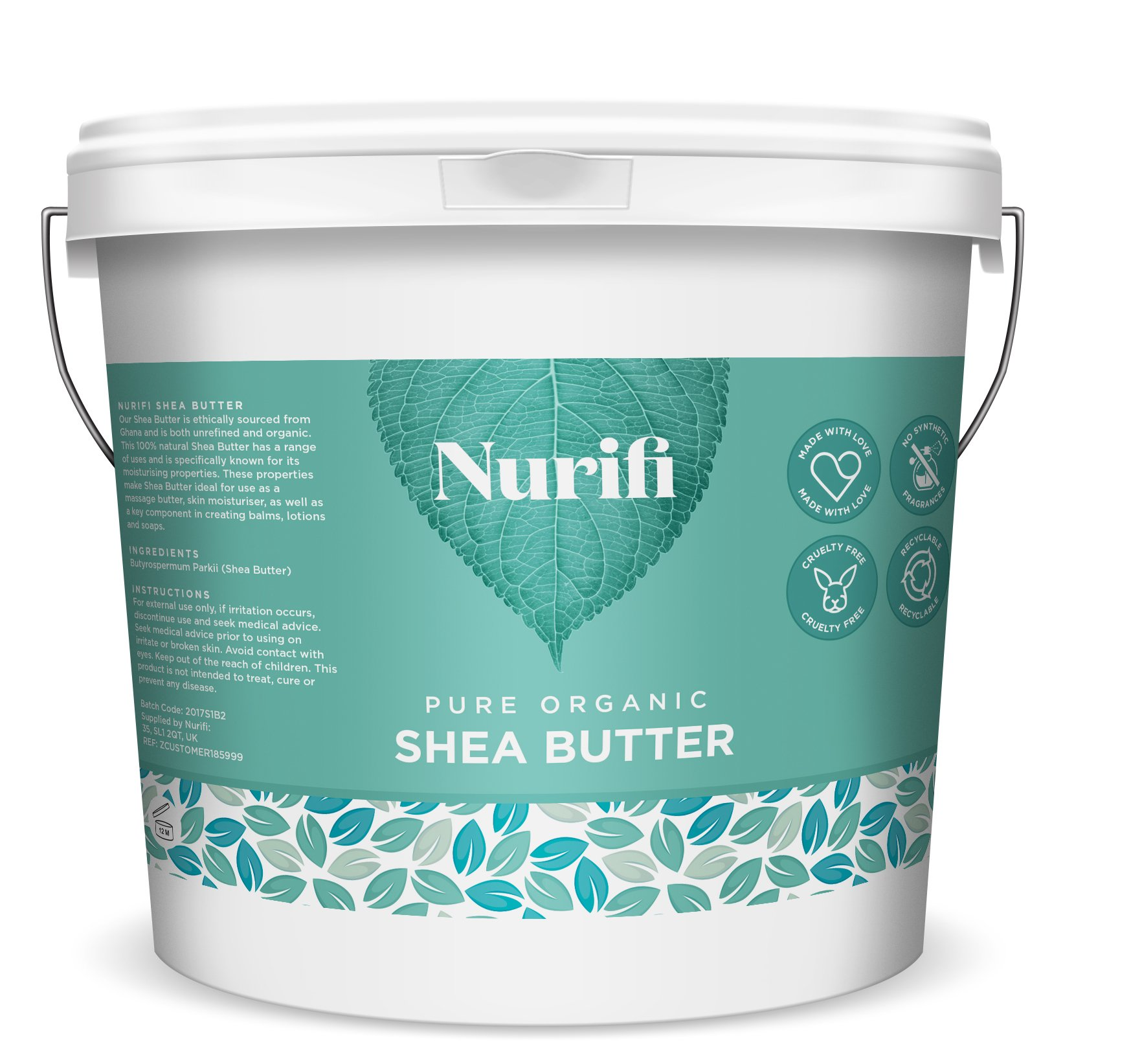 1KG Organic Shea Butter Unrefined – 100% Pure, Raw & Natural – Soil Association Certified – by Nurifi