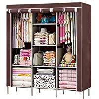 BDMP 6+2 Layer Fancy and Portable Foldable Collapsible Closet Cabinet Brown 88130