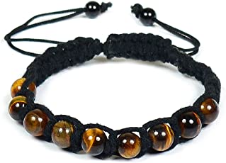 Tiger Eye Bracelet 8mm Beads Thread Bracelet for Reiki Healing and Meditation, Protection, Confidence, Will Power - Bracelet by Reiki Crystal Products