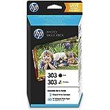 HP 303 Pack Economique de 2 Cartouches d'Encre Noire et Trois Couleurs + un Pack de 40 feuilles de Photo 10x15 cm (Z4B62EE)