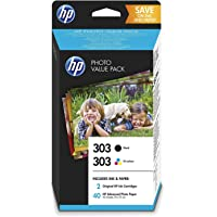 HP 303 Pack Economique de 2 Cartouches d'Encre Noire et Trois Couleurs + un Pack de 40 feuilles de Photo 10x15 cm…