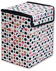 Khushifab Laundry Square Shape Foldable Multipurpose Carry Handles Basket Bag Zippered Lid Dots for Home, Cloth Storage (Colour and Print Might)