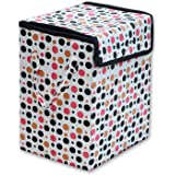 Khushifab Square Shape Foldable Multipurpose Carry Handles Zippered Lid Dots Laundry Basket Bag for Home, Cloth Storage