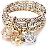 Bracciale elastico 3 pezzi per donna, bracciale catena popcorn con pendente ciondolo Bracciale in argento oro rosa bracciale