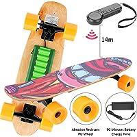 Skateboard électrique avec télécommande, 25,4 '' Planche à roulettes à 4 Roues avec Batterie au Lithium, Vitesse de Maximale de 20 km / h, Moteur de 350 W, 7 Couches de Planche Feuille D'érable Solide