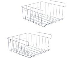 ASTOTSELL Cestello portaoggetti sottopiano il ripiano, 2 pezzi sotto ripiano Portaoggetti in filo metallico appeso Organizzat
