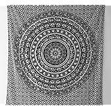 Indio Elefante Mandala Tapestry, Hippie Tapestries, para colgar en la pared de tapiz, Blanco y Negro Tapiz, indio bohemio dormitorio Decor Mandala Tapestries Tamaño = 94x 85cm. aprox.
