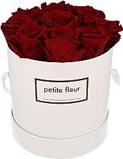 Petite Fleur Infinity Rosen Flowerbox M weiß - rund 15 x 18 cm - langanhaltende farbenprächtige dunkelrote Blüten - 9 bis 10 konservierte Rosen