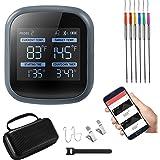 Bluetooth Draadloze Grill BBQ Thermometer Zum Grillen mit 6 farbigen Sonden, Timer, Alarm, LCD-Bildschirm, Smart Barbecue Koc