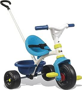 Smoby - Tricycle Be Fun Bleu - Vélo Enfant Dès 15 Mois - Canne Parentale Amovible - 740323
