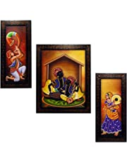 Indianara Rajasthani Folk Music and Dance Rectangular Synthetic Wood Art Painting (35 cm x 28 cm x 3 cm, Set of 3)