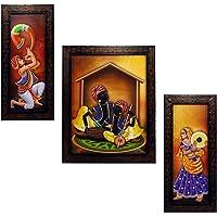 INDIANARA 3 PC Set of Rajasthani Folk Music & Dance Paintings (1084) Without Glass 5.2 X 12.5, 9.5 X 12.5, 5.2 X 12.5…