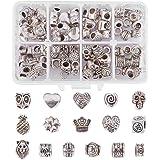 NBEADS 96 Pezzi (16 Forme Europeo Perline) Tibetano Argento Antico distanziatore Allentato Perline Assortiti Fit Braccialetti