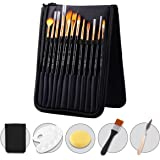 REHTRAD 12 Pieces Artist Painting Brush Set Includes Zippered Carrying Case and Knife and Palette and Paint Brush and Sponge