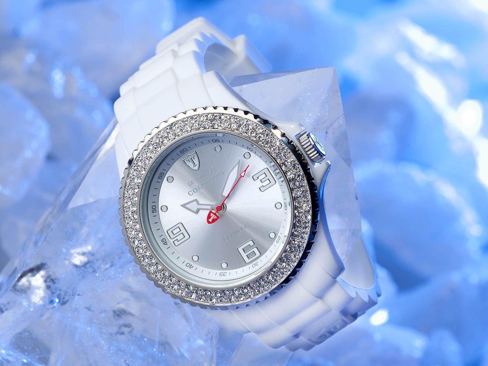 Detomaso DT3008-A – Reloj analógico de Cuarzo para Mujer con Correa de Silicona, Color Blanco