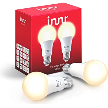 Innr E27 2-Pack Bombilla LED conectada, luz blanca cálida, Philips Hue* & Echo Plus compatible, RB 265-2