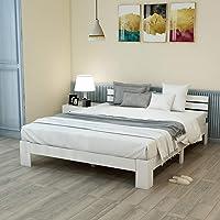 Zyllzy Lit double en bois massif certifié FSC avec tête de lit et sommier à lattes, 200 x 140 cm, Blanc