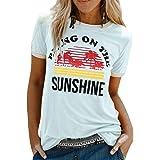 UMIPUBO Good Crew Neck Graphic Tee Shirt Femme Motif Arc-en-Ciel Imprimé Lettre Col Rond T-Shirt Chic Casual Manche Courte Se