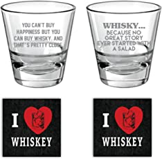 YaYa cafe The Storyteller Engraved whiskey glass Set of 2 with Quotes