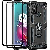 EasyLifeGo for Motorola Moto G30 / Motorola Moto G10 Kickstand Case with Screen Protector Tempered Glass [2 pieces], Hybrid H