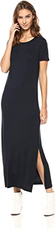 Marchio Amazon - Daily Ritual Jersey Crewneck Short Sleeve Maxi Dress with Side Slit Donna