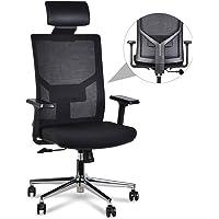LENTIA Chefsstuhl Bürostuhl aus Netz Schreibtischstuhl hohe lehne Drehstuhl Computerstuhl mit verstellbare Kopfstütze, Armlehnen und Lendenwirbelstütze Höhenverstellung Chefsstuhl 350LB (schwarz2)