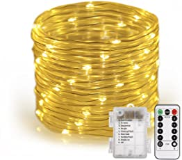 46ft Rope String Lights, S&G Battery Operated 100-LED Fairy Lights with Remote8 Lighting Modes Waterproof Dimmable/Timmer Decorative Lights for Christmas Garden Patio PartyWarm white)