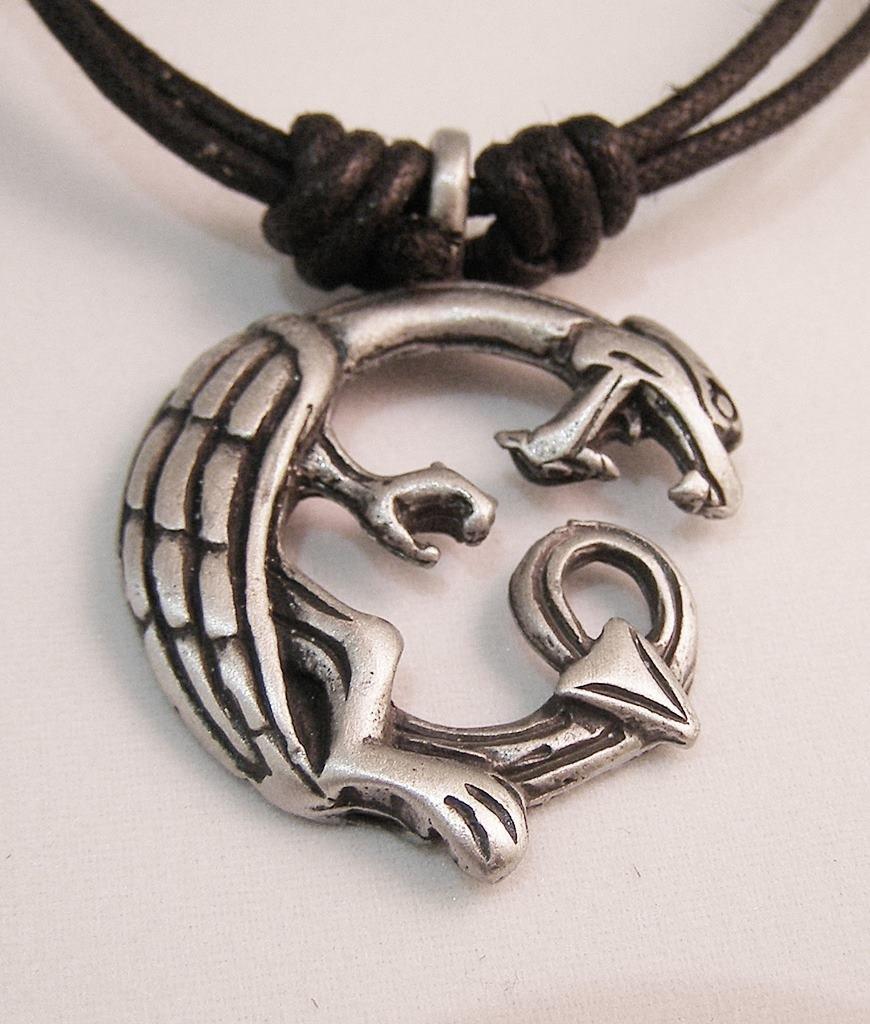 Celtic-Pendente a forma di drago in peltro-Collana