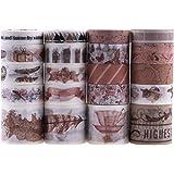 Lychii Washi Tape Set, 20 Rouleaux Ruban Adhésif Décoratif Masking Tapes pour Arts, Bullet Journal, Scrapbooking, Bricolage,