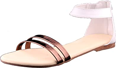 Foot Wagon White Sandal | White & Copper Sandal | Girl Sandal| Flats | Slipper for Women