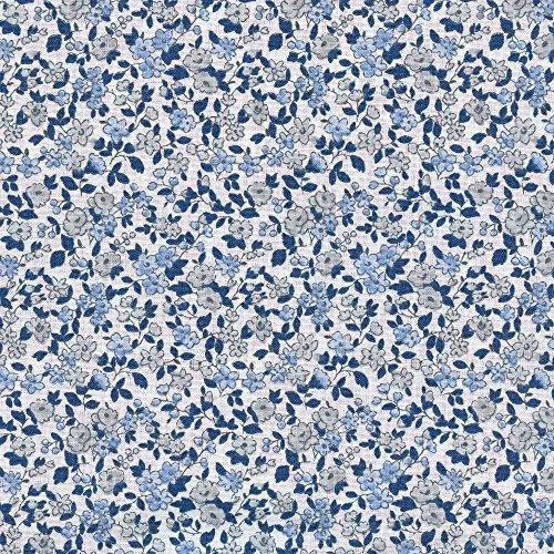 Baumwollstoff | La fleur de la liberté Stoff - grau mit Himmel blau, Marineblau und weiß (Grundfarbe) | 100% Baumwolle | Stoffbreite: 160 cm (pro Laufmeter)* -